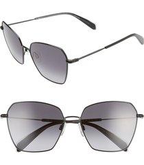 rag & bone 58mm irregular sunglasses in black/dark grey at nordstrom