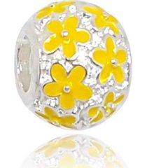 berloque  lua pratas separador flores amarela