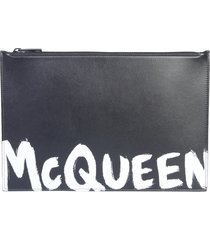 alexander mcqueen leather pouch with logo