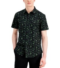 inc international concepts men's palm ditsy print short-sleeve shirt, created for macy's
