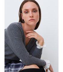 motivi cardigan a coste con polso a contrasto donna grigio