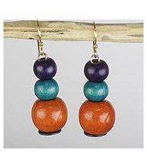 wood and recycled plastic dangle earrings, 'sweet symphony' (ghana)