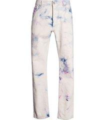 white multicolored tie-dye denim pants