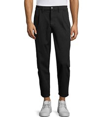 cropped pleated cotton pants