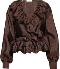 carly, 699 textured polyester blouse lange mouwen bruin stine goya