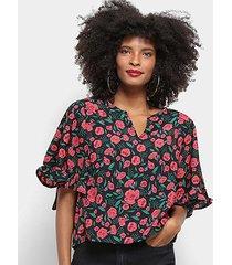 blusa top moda floral babado feminina