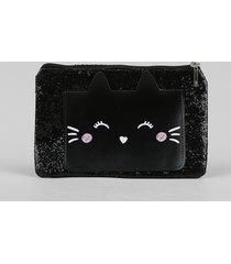 nécessaire feminina com bolso de gatinho e glitter preta
