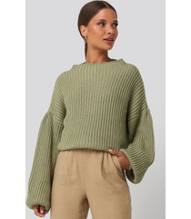 na-kd balloon sleeve knitted sweater - green