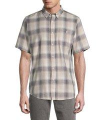 ezekiel men's regular-fit plaid shirt - bone - size xl