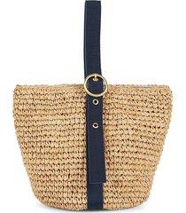 pamela munson women's small isla bahia raffia bucket bag - navy
