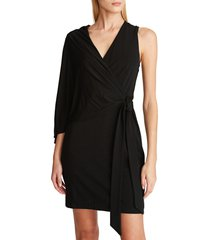 women's halston evening harley one sleeve matte jersey cocktail dress, size 2 - black