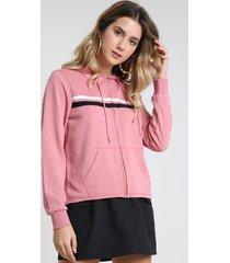 blusão feminino em moletom com listras e capuz rosa