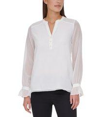 calvin klein smocked-shoulder popover blouse