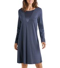 women's hanro eileen long sleeve nightgown, size small - grey