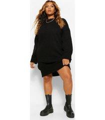 plus baggy oversized gebreide midi jurk, zwart