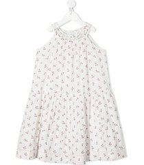 bonpoint cherry embroidered flared dress - white