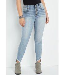maurices womens jeans vintage high rise fray hem jegging blue denim