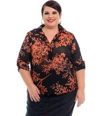 camisa martingale floral black plus size