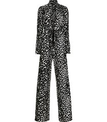 tom ford leopard-print jumpsuit - black