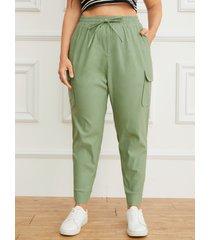 yoins plus talla cordón de sujeción diseño bolsillo pantalones