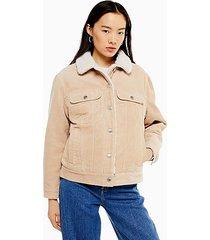 ecru corduroy oversized borg lined jacket - ecru