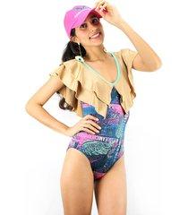 vestido de baño entero passion for the sun para mujer - estampado