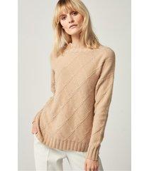 beżowy sweter z kaszmirem i wełną
