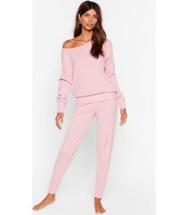 womens weekend loading knit sweater and joggers lounge set - pink