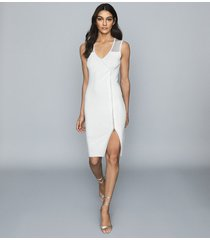 reiss alessia - knitted midi dress in white, womens, size xl