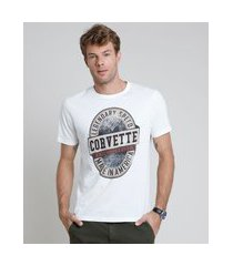 camiseta masculina corvette manga curta gola careca off white