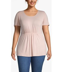 lane bryant women's ruched-waist tee 26/28 rose smoke