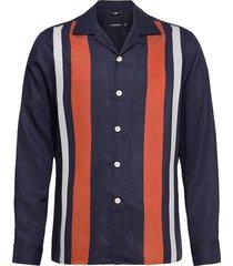 jon stripe-tencel twill overhemd casual blauw j. lindeberg