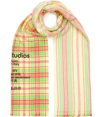 logo check wool scarf