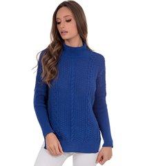 blusa myah catharine azul bic gola alta em tricã´ - azul - feminino - dafiti