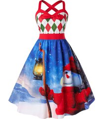 plus size snowman print high waist fit and flare dress