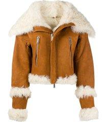 dsquared2 wide-collar biker jacket - brown