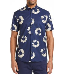 tallia men's slim fit tie-dye print shirt and a free face mask