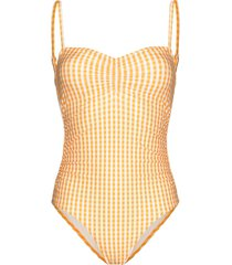 peony gingham check print swimsuit - orange