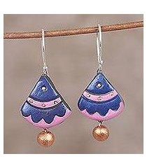 ceramic dangle earrings, 'majestic fan' (india)