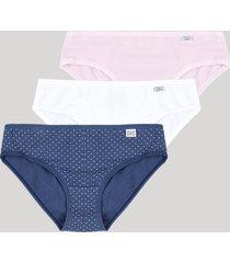 kit de 3 calcinhas de algodão infantis delrio estampadas de poá multicor