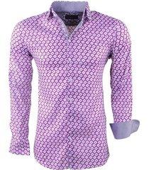 montazinni heren overhemd met trendy design stretch lila paars