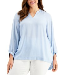 alfani plus size high-low blouse, created for macy's
