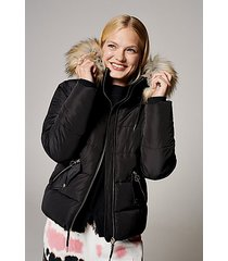 black padded puffer jacket with faux fur - black