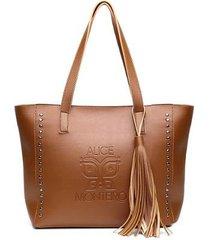 bolsa sacola com metais franja alice monteiro feminina