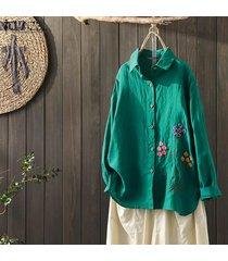 zanzea mujeres bordado tapas de la camisa étnicas abajo de los botones de la blusa de cuello de solapa del tamaño extra grande -verde