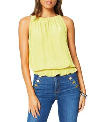 women's ramy brook lauren smock waist sleeveless top, size large - yellow