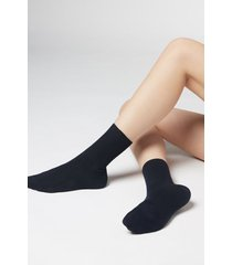 calzedonia short socks in cotton with cashmere woman blue size 39-41