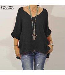 zanzea causal de las mujeres con cuello en v floja de gran tamaño de la blusa tapas de la camisa de algodón liso jumper tops -negro