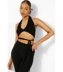 crop top met halter neck en strik, black