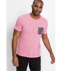 gemêleerd t-shirt met chambray borstzak